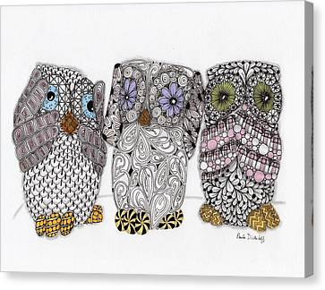 Ink Drawing Canvas Print - No Evil Owls by Paula Dickerhoff