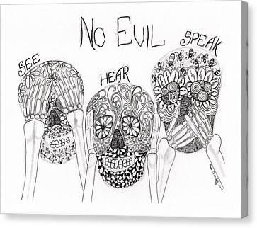 No Evil Skeletons Canvas Print by Paula Dickerhoff