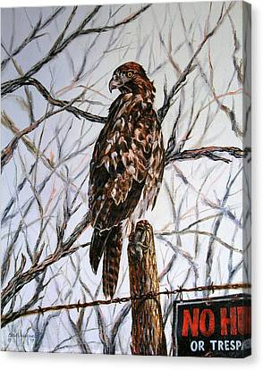 Canvas Print featuring the painting No Hunting by Craig T Burgwardt