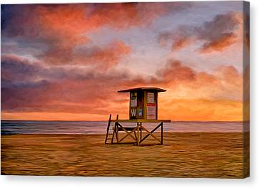No Lifeguard On Duty At The Wedge Canvas Print by Michael Pickett