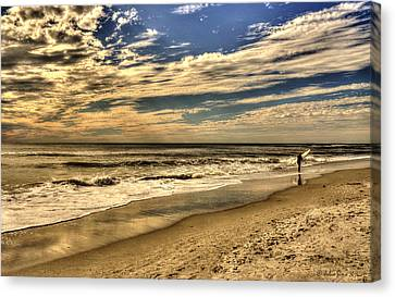 Canvas Print featuring the photograph No More Surfing Today by Julis Simo