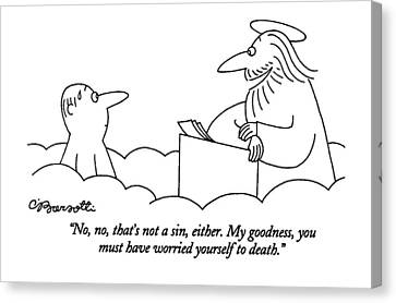 Men Canvas Print - No, No, That's Not A Sin, Either. My Goodness by Charles Barsotti