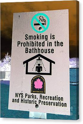 No Smoking In Shower Canvas Print by Ed Weidman