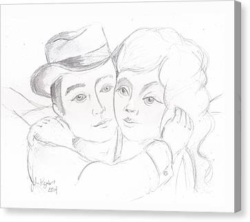 Canvas Print featuring the drawing No Time For Goodbyes by John Keaton