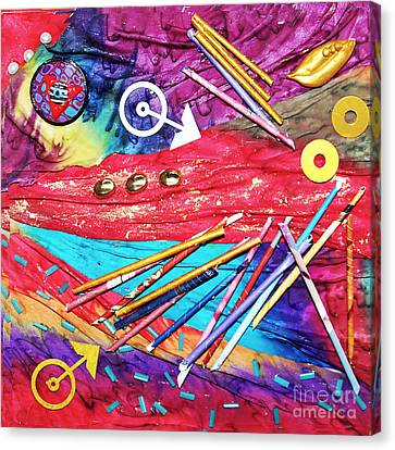 No Time To Lose Silk Collage Canvas Print by Alene Sirott-Cope