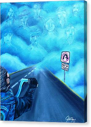 No U Turn In Blue Canvas Print by The GYPSY And DEBBIE