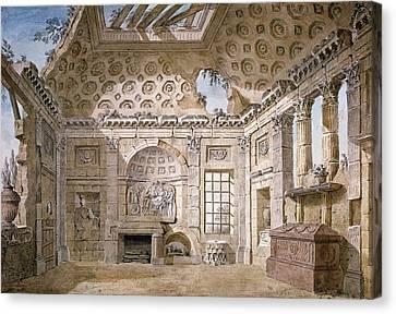 Ruin Canvas Print - Monastery Of St Trinita Del Monte by Charles Louis Clerisseau