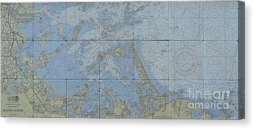 Noaa Chart Of Boston Harbor  Canvas Print by Creative Images on Tile