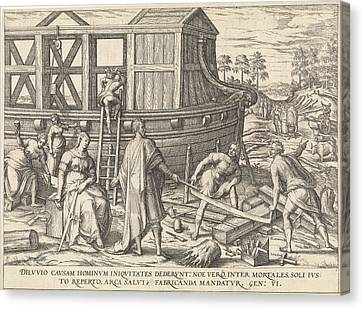 Noah Build The Ark, Attributed To Symon Novelanus Canvas Print by Symon Novelanus