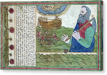 Noah Building The Ark, 1608 Canvas Print by Folger Shakespeare Library