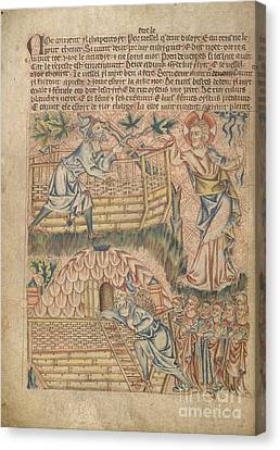 Noah Building The Ark Canvas Print by British Library