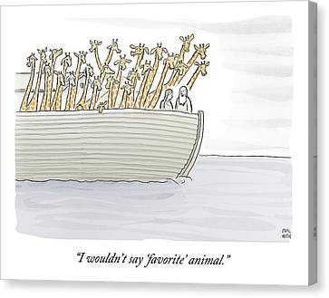 Noah In The Ark With All Giraffes Canvas Print by Paul Noth