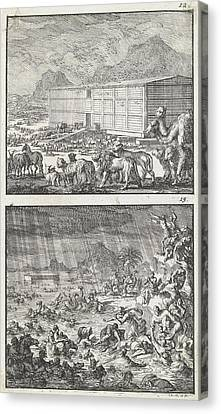 Noah Loads All The Animals In The Ark, The Flood Canvas Print by Jan Luyken