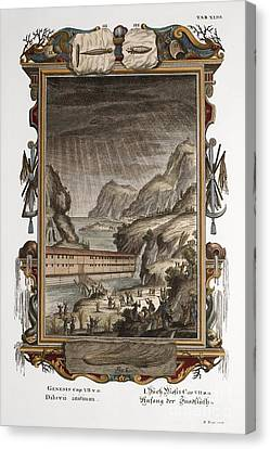 Noahs Ark And Flood, Scheuchzer, 1731 Canvas Print by Paul D. Stewart