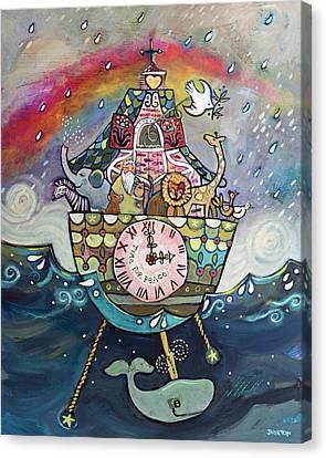 Noah's Ark Cuckoo Clock Wall Art Canvas Print by Jen Norton