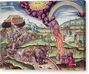 Noahs Ark, Illustration From Brevis Narratio..., Published By Theodore De Bry, 1591 Coloured Canvas Print