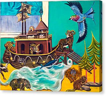 Canvas Print featuring the painting Noah's Ark Second Voyage by Susan Culver