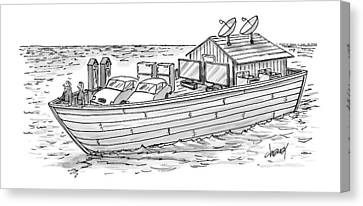 Ark Canvas Print - Noah's Ark With Pairs Of Home Appliances Instead by Tom Cheney