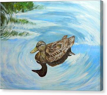 Canvas Print featuring the painting Noah's Duck by Sandra Nardone