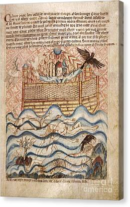 Noah's Flood, 14th-century Manuscript Canvas Print by British Library