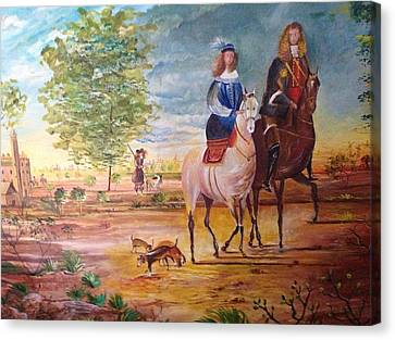Nobel  Knight And Lady Canvas Print by Egidio Graziani