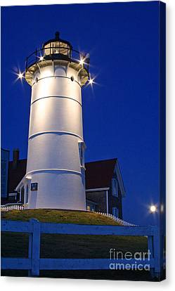 Nobska Light And The Beaver Moon Canvas Print by Butch Lombardi