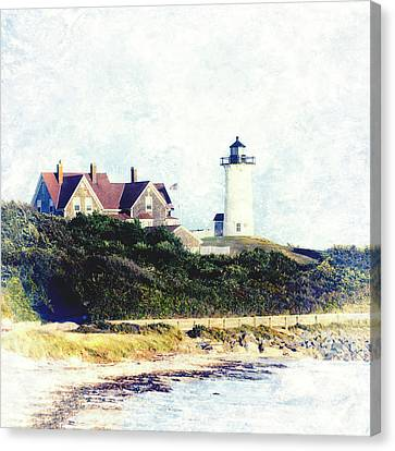 Cape Cod Canvas Print - Nobska Lighthouse Cape Cod Massachusetts Retro Style by Marianne Campolongo