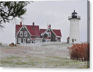 New England Lighthouse Canvas Print - Nobska Lighthouse  by Catherine Reusch Daley