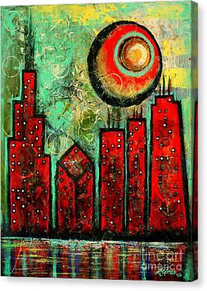 Noche Roja - Red Night - Art By Laura Gomez Canvas Print by Laura  Gomez