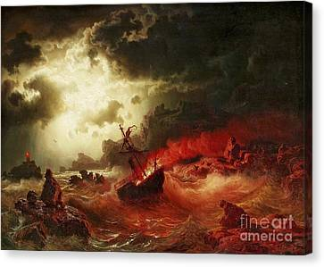Nocturnal Marine With Burning Ship Canvas Print by Pg Reproductions