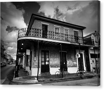Wrought Iron Bicycle Canvas Print - Nola - French Quarter 007 Bw by Lance Vaughn