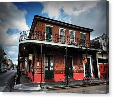 Wrought Iron Bicycle Canvas Print - Nola - French Quarter 007 by Lance Vaughn