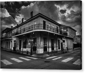 Wrought Iron Bicycle Canvas Print - Nola - French Quarter 008 Bw by Lance Vaughn
