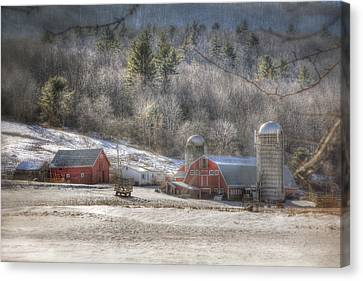 Red Barn In Snow Canvas Print - Nolan Farm - Vermont Farm by Joann Vitali