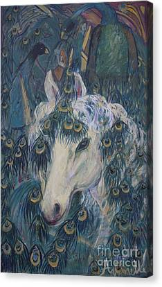 Canvas Print featuring the painting Nola's Unicorn by Avonelle Kelsey