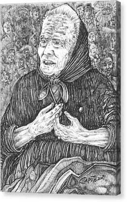 Canvas Print featuring the drawing Forenza Vita Nonna Filomena - Famiglia Mia by Giovanni Caputo