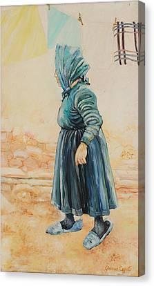 Canvas Print featuring the painting Forenza Vita Nonna Filomena by Giovanni Caputo