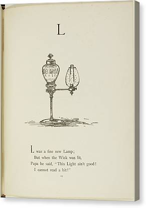 Nonsense Alphabets By Edward Lear Canvas Print by British Library