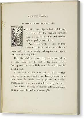Nonsense Botany And Nonsense Alphabets Canvas Print by British Library