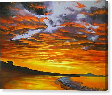 Canvas Print featuring the painting Noosa Sunset by Chris Hobel