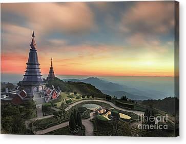 Noppha Methanidon-noppha Phon Phum Siri Stupa Canvas Print by Anek Suwannaphoom