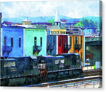 Norfolk Southern 8324 And 8676 Locomotives Canvas Print by Susan Savad