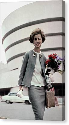 Guggenheim Canvas Print - Norma Collier Standing In Front Of The Guggenheim by Frances McLaughlin-Gill