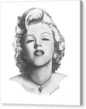 Canvas Print featuring the drawing Norma Jeane by Marianne NANA Betts