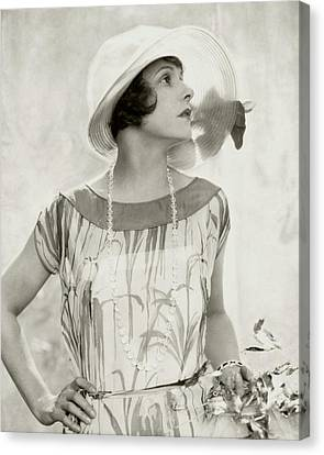 Norma Talmadge Wearing A Hat And Dress Canvas Print
