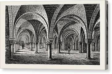 Norman Architecture Crypt Of Canterbury Cathedral Canvas Print by English School