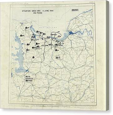 Liberation Canvas Print - Normandy Campaign Map by Library Of Congress, Geography And Map Division