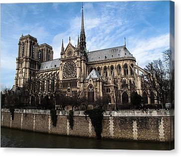 Norte Dame Cathedral-the South Side Canvas Print by Linda Posnick