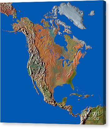 North America In Relief Canvas Print by Mike Agliolo
