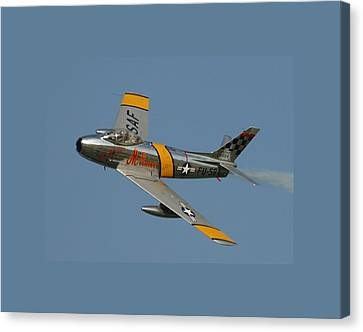 North American F 86 Sabre John Glenn Border Canvas Print by L Brown